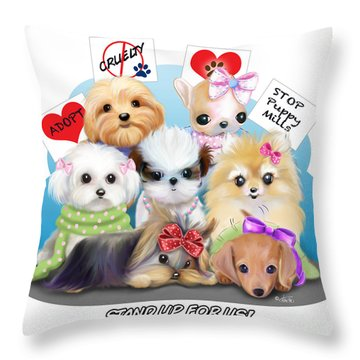 Puppies Manifesto Throw Pillow by Catia Cho