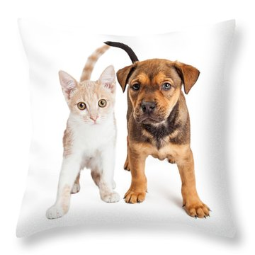 Puppy And Kitten Standing Together Throw Pillow