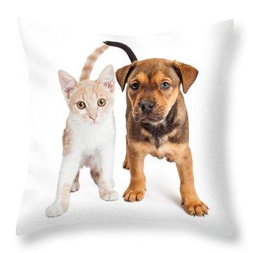 Puppy And Kitten Standing Together Throw Pillow by Susan Schmitz