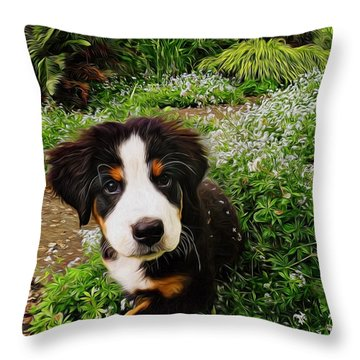 Puppy Art - Little Lily Throw Pillow