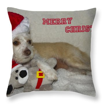 Throw Pillow featuring the photograph Puppy Christmas Toy by Photography by Laura Lee