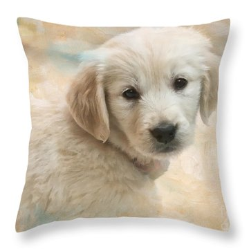 Puppy Eyes Throw Pillow by Jayne Carney