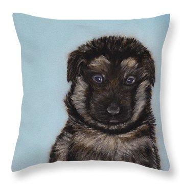 Puppy - German Shepherd Throw Pillow by Anastasiya Malakhova