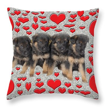 Puppy Love Throw Pillow by Aimee L Maher Photography and Art Visit ALMGallerydotcom