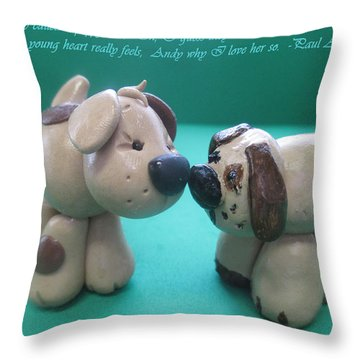 Puppy Love Throw Pillow by Barbara Snyder