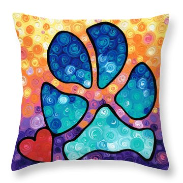 Puppy Love - Colorful Dog Paw Art By Sharon Cummings Throw Pillow by Sharon Cummings