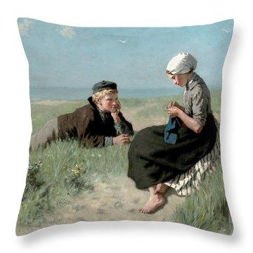 Puppy Love Throw Pillow by David Adolph Constant Artz