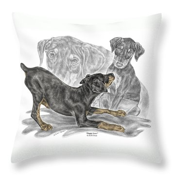 Puppy Love - Doberman Pinscher Pup - Color Tinted Throw Pillow