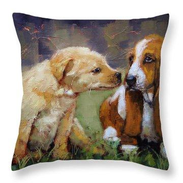 Puppy Love Throw Pillow by Laura Lee Zanghetti