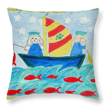 Puppy Sailors Throw Pillow by Diane Pape