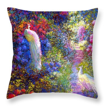 White Peacocks, Pure Bliss Throw Pillow