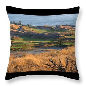 Throw Pillow featuring the photograph Pure Links Style Golf - Chambers Bay Golf Course by Chris Anderson