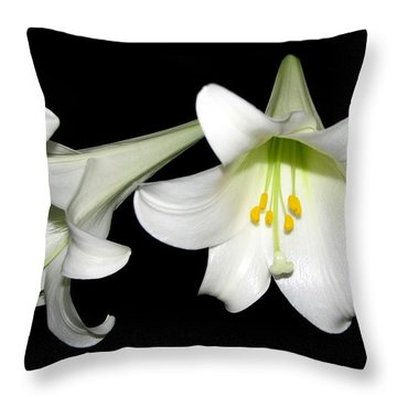 Throw Pillow featuring the photograph Pure White Easter Lilies by Rose Santuci-Sofranko