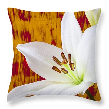 Pure White Lily Throw Pillow by Garry Gay
