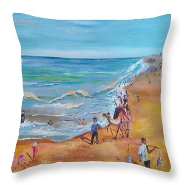 Puri Beach India Throw Pillow by Geeta Biswas