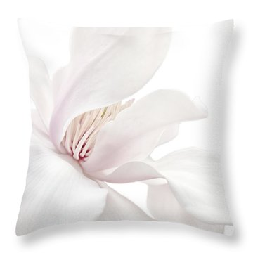 Throw Pillow featuring the photograph Purity White Magnolia Flower Blossom by Jennie Marie Schell