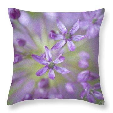 Purple Allium Flower Throw Pillow by Juli Scalzi