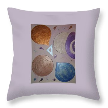 Purple And Metallic Shapes Throw Pillow by Barbara Yearty