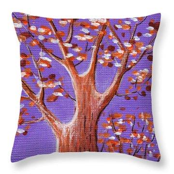 Purple And Orange Throw Pillow by Anastasiya Malakhova