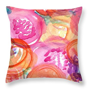 Purple And Orange Flowers Throw Pillow by Linda Woods