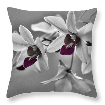 Purple And Pale Green Orchids - Black And White Throw Pillow
