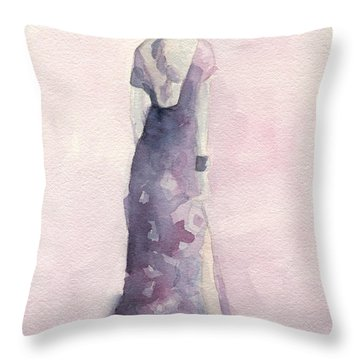 Purple And Pink Evening Dress Watecolor Fashion Illustration Throw Pillow