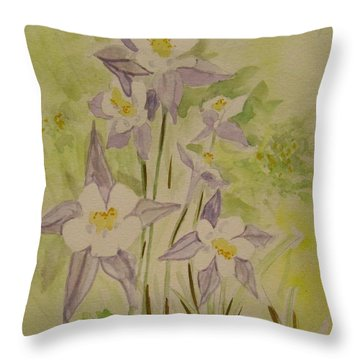 Purple And White Columbines Throw Pillow