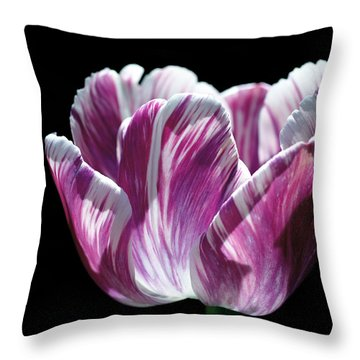 Purple And White Marbled Tulip Throw Pillow