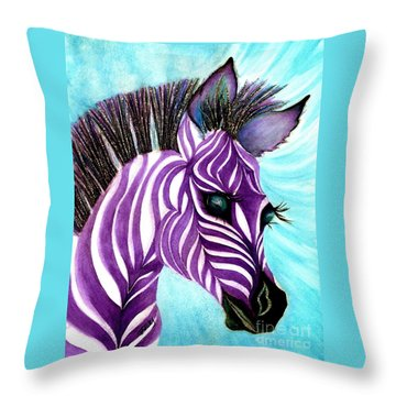 Purple Baby Zebra Throw Pillow