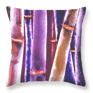 Purple Bamboo Throw Pillow