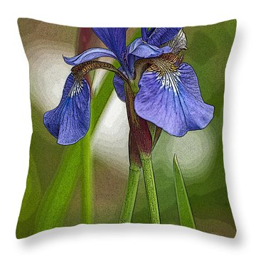 Purple Bearded Iris Watercolor With Pen Throw Pillow