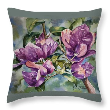 Purple Beauties - Bougainvillea Throw Pillow