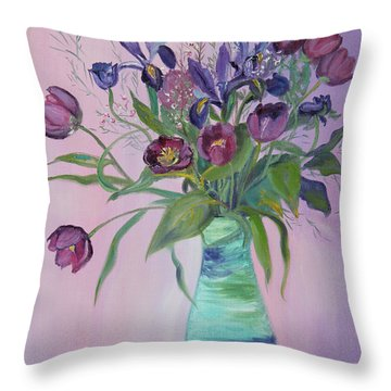 Purple Belle Bouquet  Tulips And Irises Throw Pillow