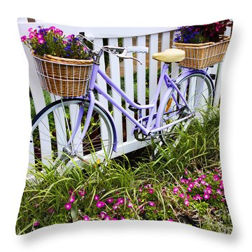 Purple Bicycle And Flowers Throw Pillow