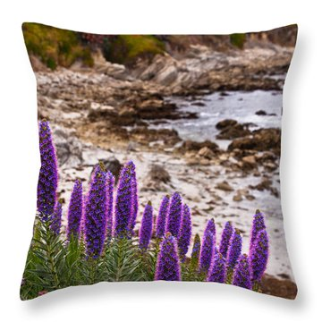 Purple California Coastline Throw Pillow