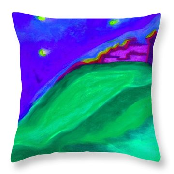 Throw Pillow featuring the painting Purple Castle By Jrr by First Star Art