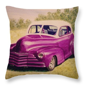 Purple Chevrolet Throw Pillow