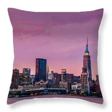 Throw Pillow featuring the photograph Purple City by Mihai Andritoiu