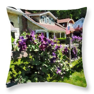 Purple Clematis On Rustic Fence Throw Pillow by Susan Savad