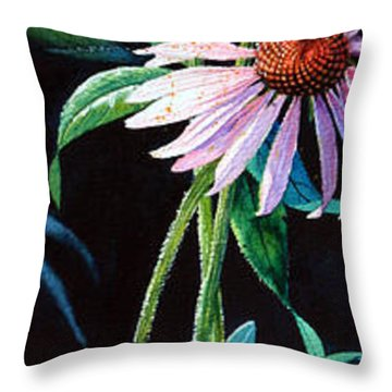 Purple Cone Flower 2 Throw Pillow by Hanne Lore Koehler