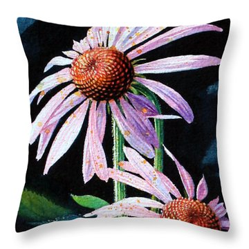 Purple Cone Flowers 1 Throw Pillow by Hanne Lore Koehler