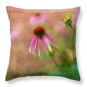 Purple Coneflower Textured Throw Pillow