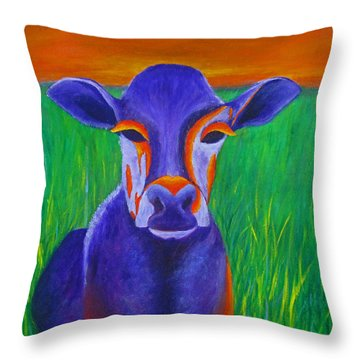 Purple Cow Throw Pillow