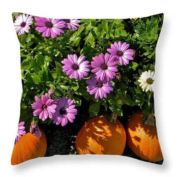 Purple Daisies And A Touch Of Orange Throw Pillow by Jean Goodwin Brooks