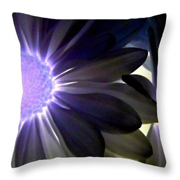 Purple Daisies Negative Effects Throw Pillow by Danielle  Parent