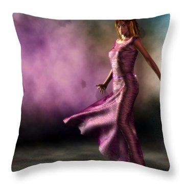 Throw Pillow featuring the digital art Purple Dancer by Kaylee Mason