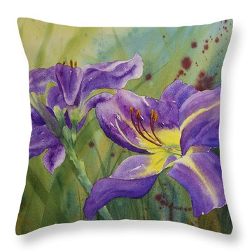 Purple Day Lily Throw Pillow