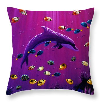 Purple Dolpins Throw Pillow by Lance Headlee