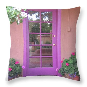 Throw Pillow featuring the photograph Purple Door by Dora Sofia Caputo Photographic Art and Design