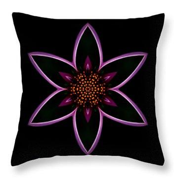 Purple Echinacea Flower Mandala Throw Pillow